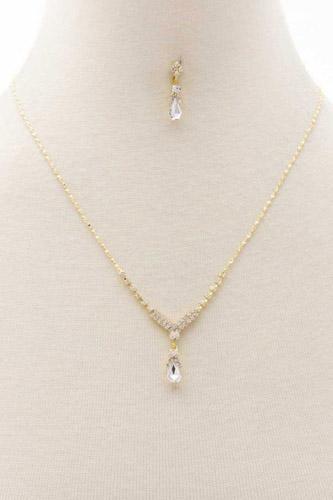 Dainty Crystal V Necklace