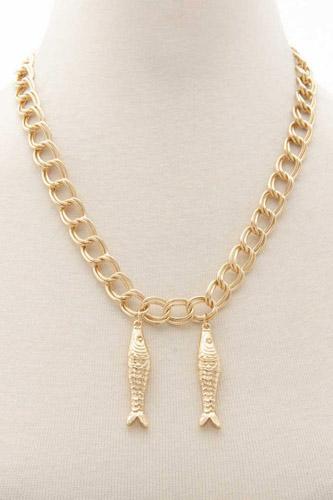 Double Fish Pendant Metal Necklace