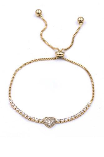 Rhinestone Heart Metal Chain Adjust Bracelet