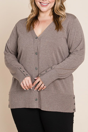 Plus Size Solid Buttery Soft V Neck Button Up High Quality Two Tone Knit Cardigan
