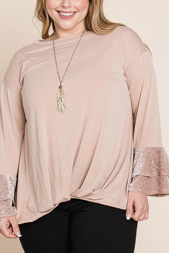 Plus Size Two Tier Velvet Animal Mesh Sleeves Solid Knit Top