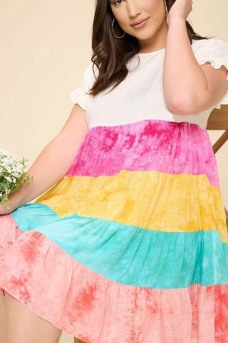 Multi Color Tie-dye Tiered Mini Dress