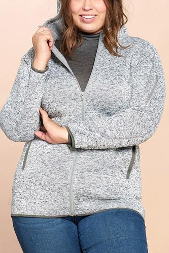 Solid Two-tone Knit Fleece Hoodie