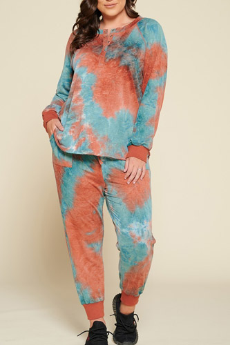 Tie-dye Printed French Terry Knit Loungewear Sets
