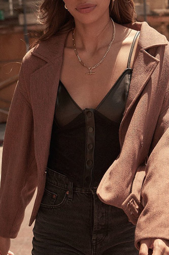 A Faux Leather And Lace Camisole Top