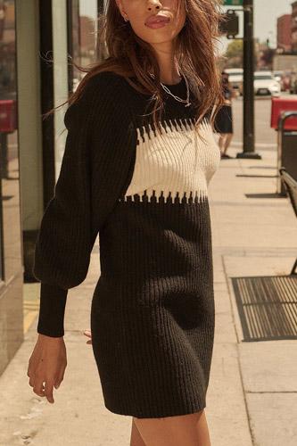 A Ribbed Knit Sweater Mini Dress