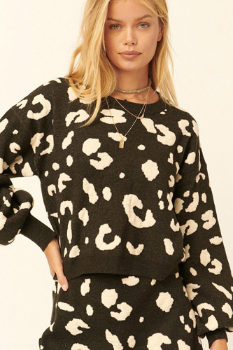 A Leopard Print Pullover Sweater