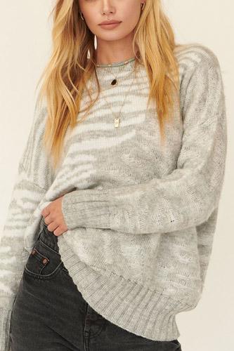 A Zebra Print Pullover Sweater
