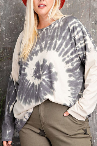 Plus Size Ls Special Washed Poly Rayon Knit Top