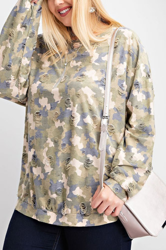 Plus Size Long Sleeve Distressed Printed Rayon Pullover Top