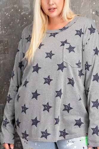 Plus Size Star Printed Poly Rayon Loose Fit Top