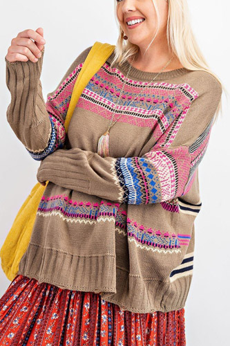 Plus Size Boho Patterned Knitted Sweater Pullover