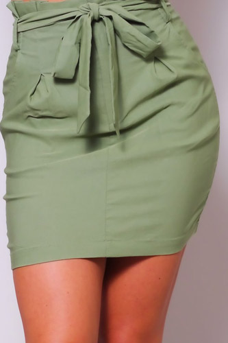 High Waisted Pleated & Belted Mini Skirt