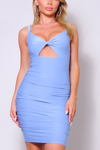 Spaghetti Strap Twist Front Cutout Ruched Mini Dress