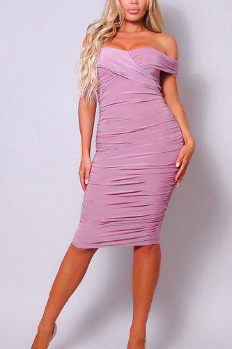 Sexy Off Shoulder Ruched Midi Dress