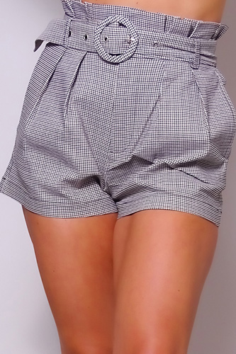 High Waisted Pleated & Belted Plaid Shorts