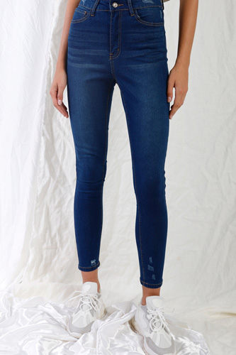Dark Blue High-waisted With Rips Skinny Denim Jeans