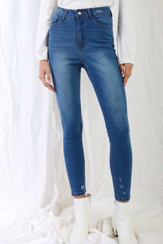 Mid Blue High-waisted With Rips Skinny Denim Jeans