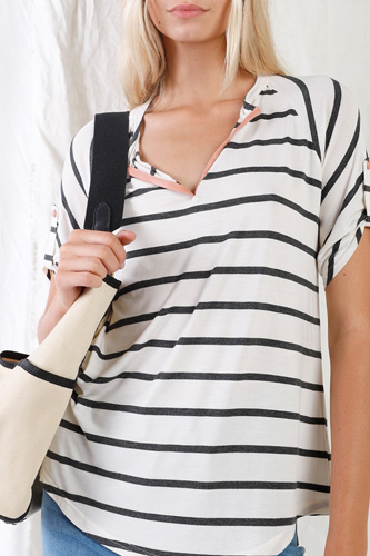 Cream & Grey Striped V-neck With Vegan Leather Detail Short Roll Up Sleeve Relaxed Fit Top