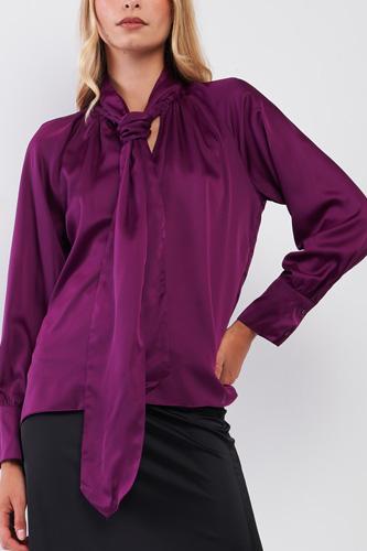 Violet Satin Long Sleeve Tie-neck Blouse Top