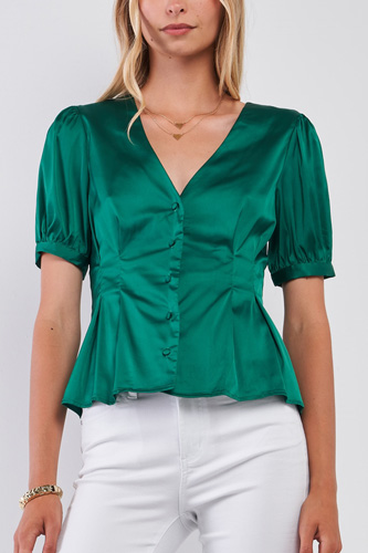 Kelly Green Satin Short Puff Sleeve V-neck Button-down Front Fit & Flare Blouse Top