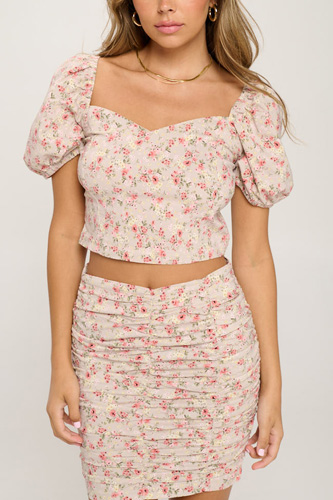 Floral Crop Top And Shirred Skirt Set