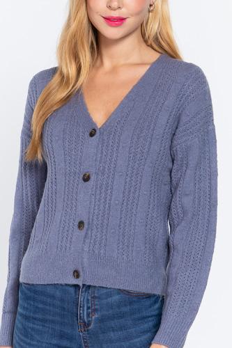 Long Slv V-neck Knit Cardigan