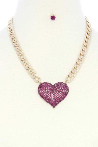 Rhinestone Heart Pendant Chunky Cuban Link Necklace