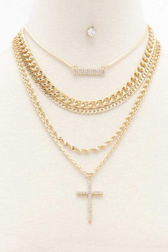 Rhinestone Cross Layered Metal Necklacea