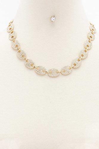 Rhinestone Chain Necklace Earring Set