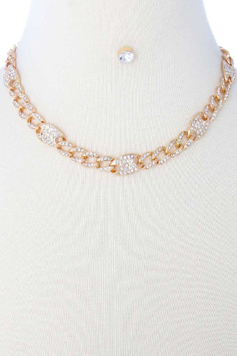 Rhinestone Pave Chain Necklace Earring Set