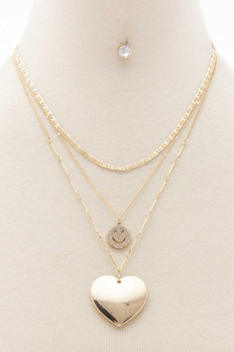 Heart Pendant Happy Face Layered Necklace