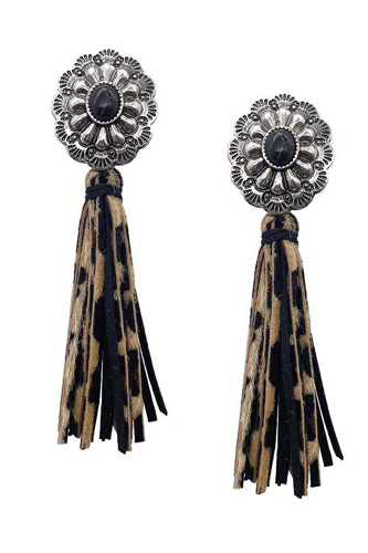 Western Style Natural Stone Faux Leather Tassel Dangle Earring