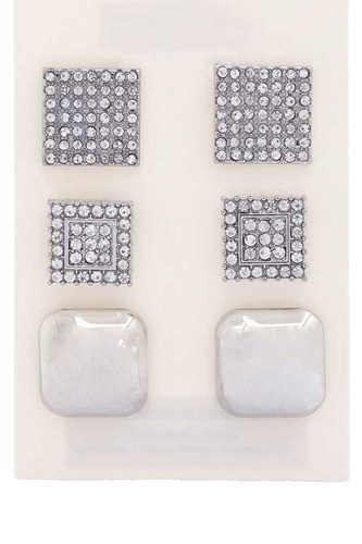 Square Rhinestone Earring Set