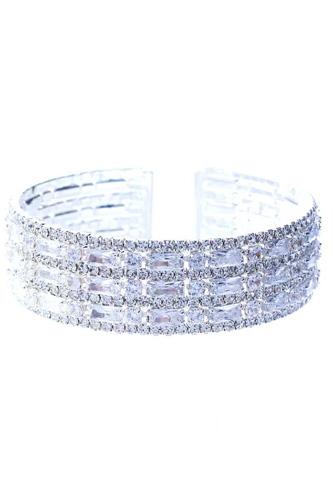 Rhinestone Cubic Zirconia Baguette Multi Row Bracelet