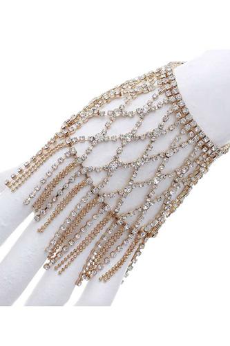Rhinestone Net Pattern Fringe Stretch Bracelet