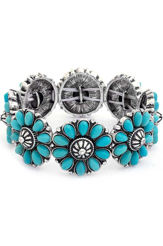 Floral Stone Design Elastic Bracelet