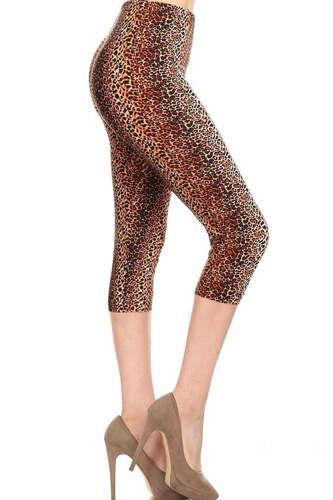 Multi-color Print, Cropped Capri Leggings In A Fitted Style With A Banded High Waist.
