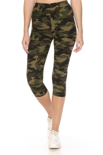 Multi-color Print, Cropped Capri Leggings In A Fitted Style With A Banded High Waist