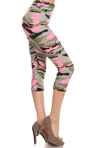 Print, Cropped Leggings In A Fitted Style With A Banded High Wais