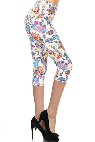 Floral Printed Lined Knit Capri Legging With Elastic Waistband