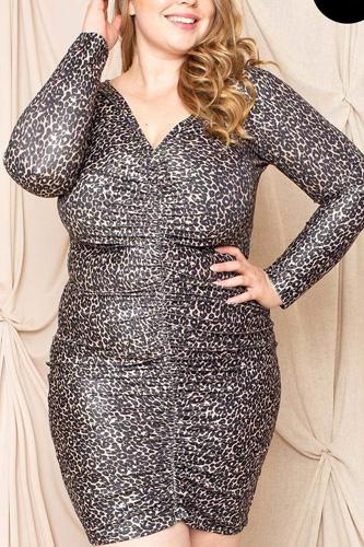 Leopard Print Shirring Plus Size Mini Dress