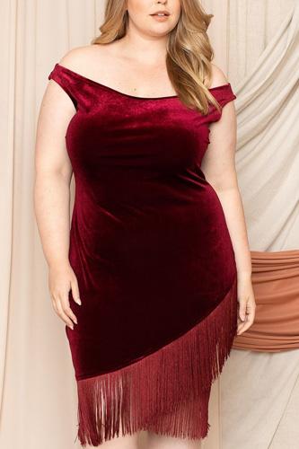 Velvet Off The Shoulder Plus Mini Dress