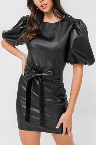 A Faux Leather Mini Dress
