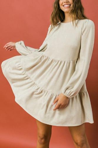 Round Neckline Suede Mini Dress