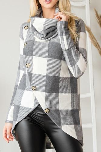This Cute Asymmetric Button Trim Detail Sweater