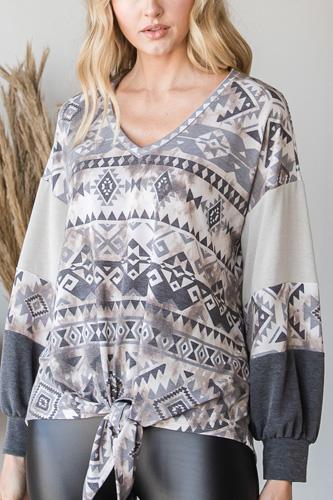 Beautiful Aztec Print Long Sleeve Sweater