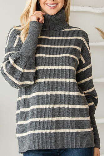 Heavy Knit Striped Turtle Neck Knit Sweater