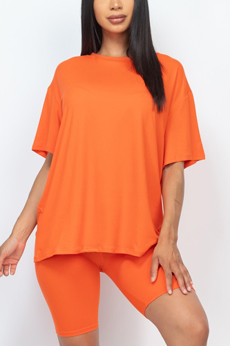Loose Fit Top And Bike Shorts Set