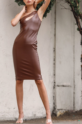Brown Faux Leather One Shoulder Cut-out Midi Dress